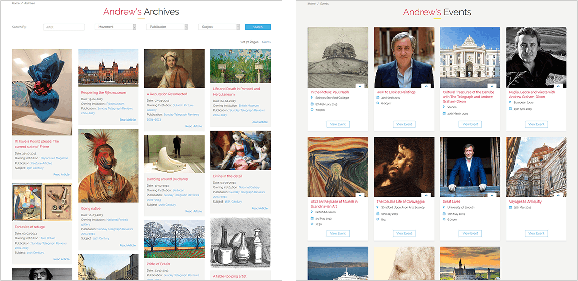 Screen shots showing Andrew Graham-Dixon Broadcast and Books website pages