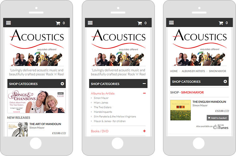 Mobile view of Acoustics Records website