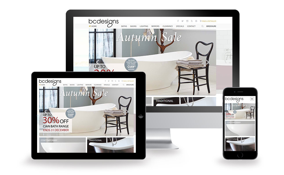 B C Designs website screen