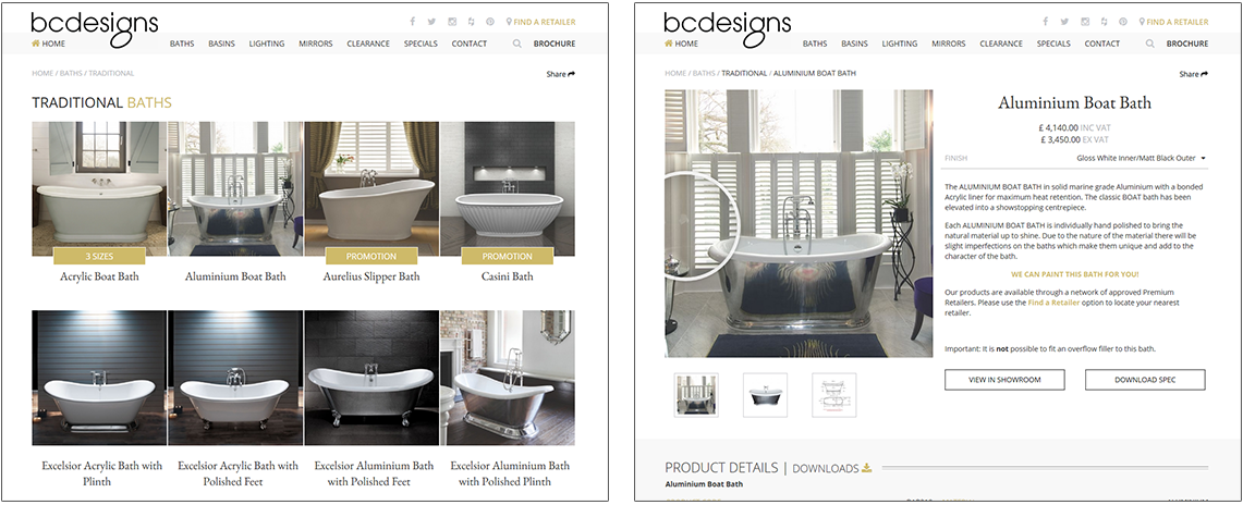 Screen shots of B C Designs website