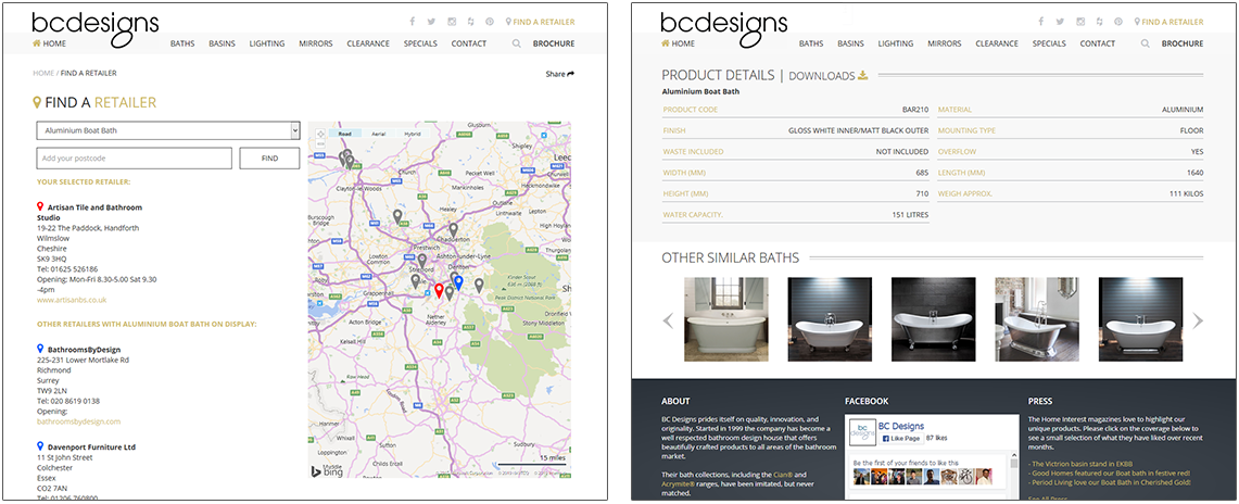 Screen shots of B C Designs website products