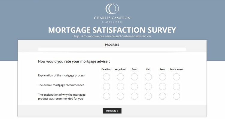 Screen shot of Charles Cameron & Asscicates mortgage survey