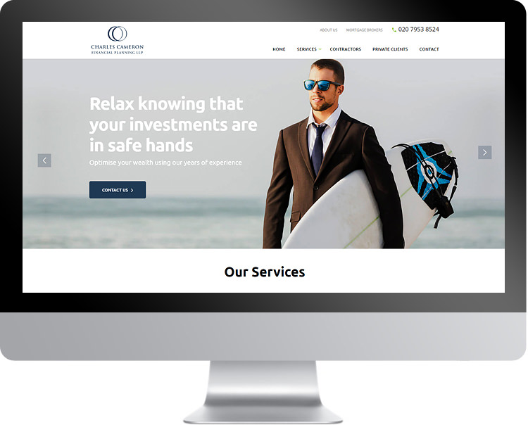 Website screen design for Charles Cameron Financial Services
