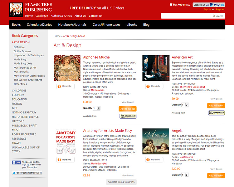 Screen shot of Flame Tree Publishing shopping website listing