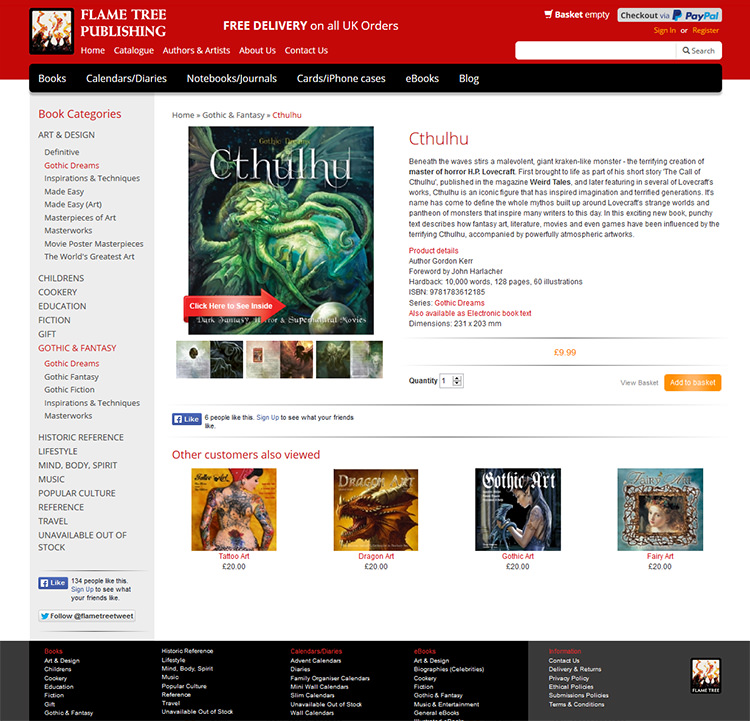 Screen shot of Flame Tree Publishing shopping website product detail page