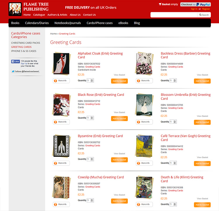 Screen shot of Flame Tree Publishing shopping website greeting cards page