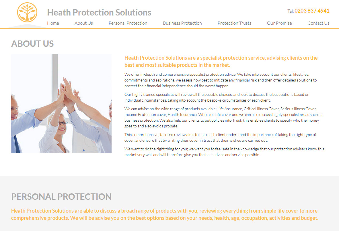 Screen shot of Heath Protection Solutions website design