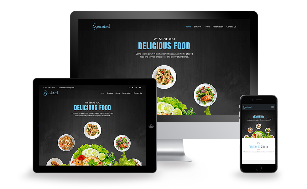 Responsive website design for Seabird Restaurant